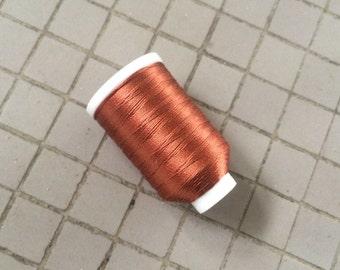 Vintage Gudebrod/Utica Silk Thread Spool, Auburn Copper, Size F, 185 Yards