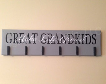 Great grandkids make life grand primitive wooden wall picture-photo holder,perfect gift for great grandparents to show off their family