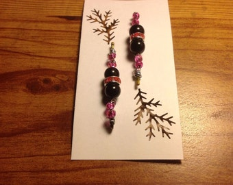Beaded bobby pins hair accessories pink seed beads and glass New Handmade