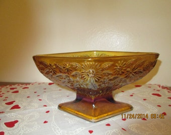 Vintage Indiana Glass Iridescent Amber Diamond Shape Compote