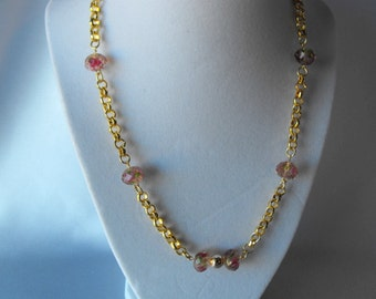 "19"" Chinese Crystal and Gold Chain Necklace  (BD-647)"