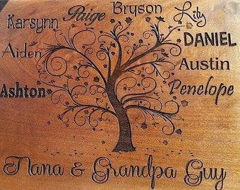 Family Tree - Custom Sapele Cutting Board