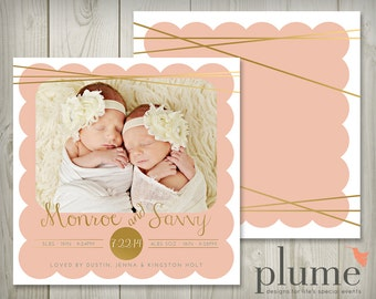 Twin Birth Announcement, Twin Baby Annoucement, Twin Announcement, Foil Birth Announcement, Modern Birth Announcement