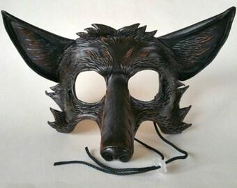Leather Black Fox Mask Dark Fox Mask Silver Fox Mask