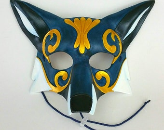 Blue Ornate Leather Fox Mask Blue Kitsune Mask