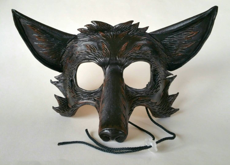leather black fox mask dark fox mask silver fox mask. Black Bedroom Furniture Sets. Home Design Ideas