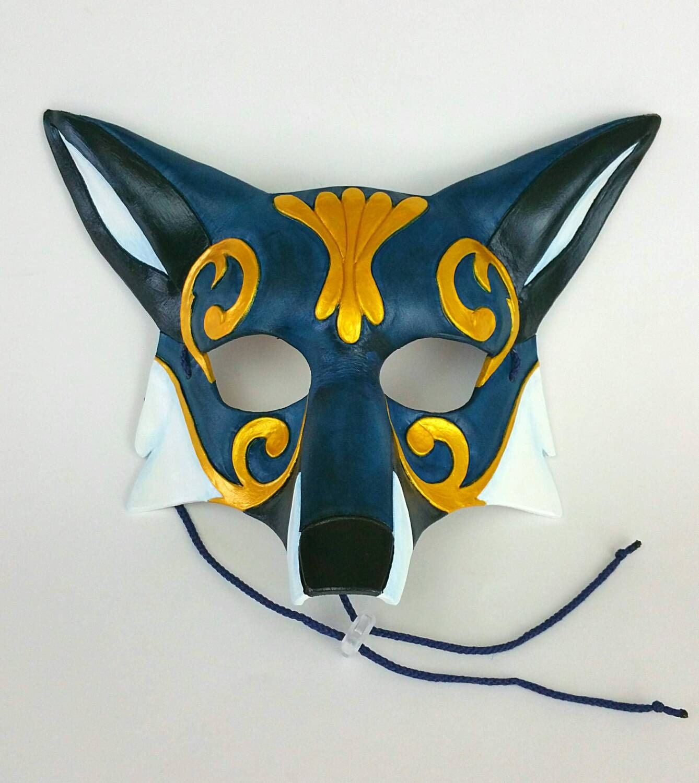 blue ornate leather fox mask blue kitsune mask. Black Bedroom Furniture Sets. Home Design Ideas