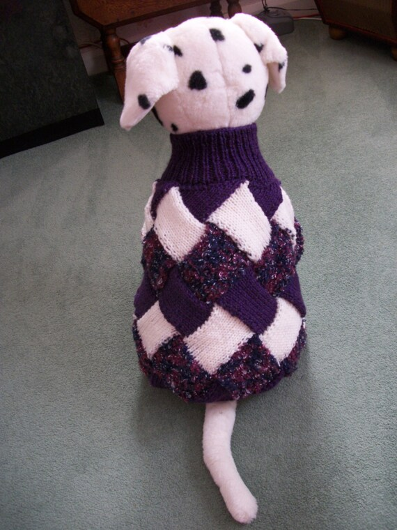 Xl Dog Sweater Knitting Pattern : Entrelac extra large dog coat jumper sweater by
