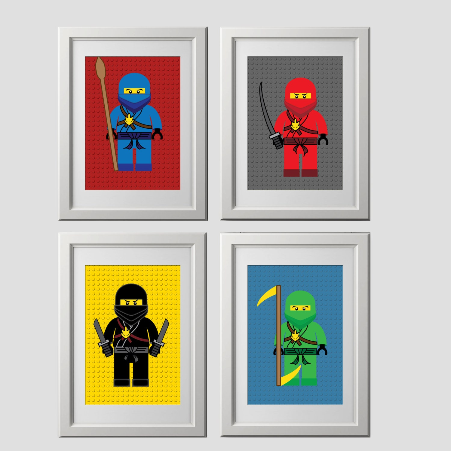 Lego ninjago wall art prints lego bedroom wall by for Art room door decoration