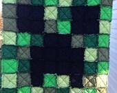 Minecraft Creeper quilt, minecraft blanket, minecraft rag quilt, minecraft bedding, minecraft creeper, minecraft throw, minecraft lover