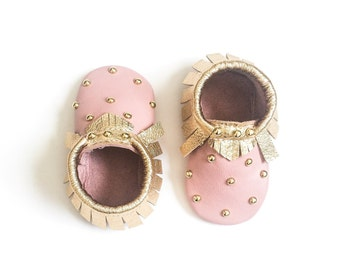 Baby Moccasins, Toddler Moccasins - Pink & Gold Studded Baby Moccasins, Toddler Moccs, Leather Moccasins, Crib Shoes, Baby Moccasin Shoes