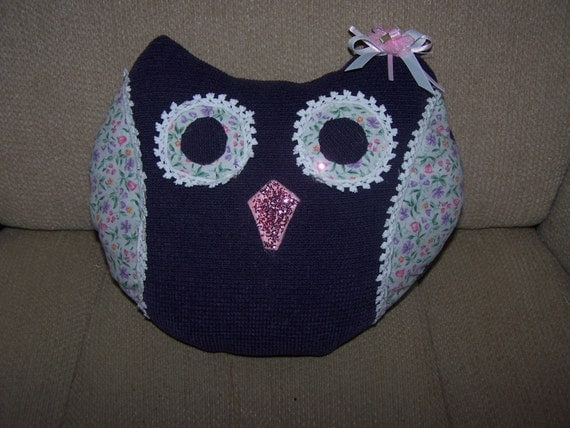 Novelty Owl Plush Pillow Home Decor Girls Room By Oldspoolmom