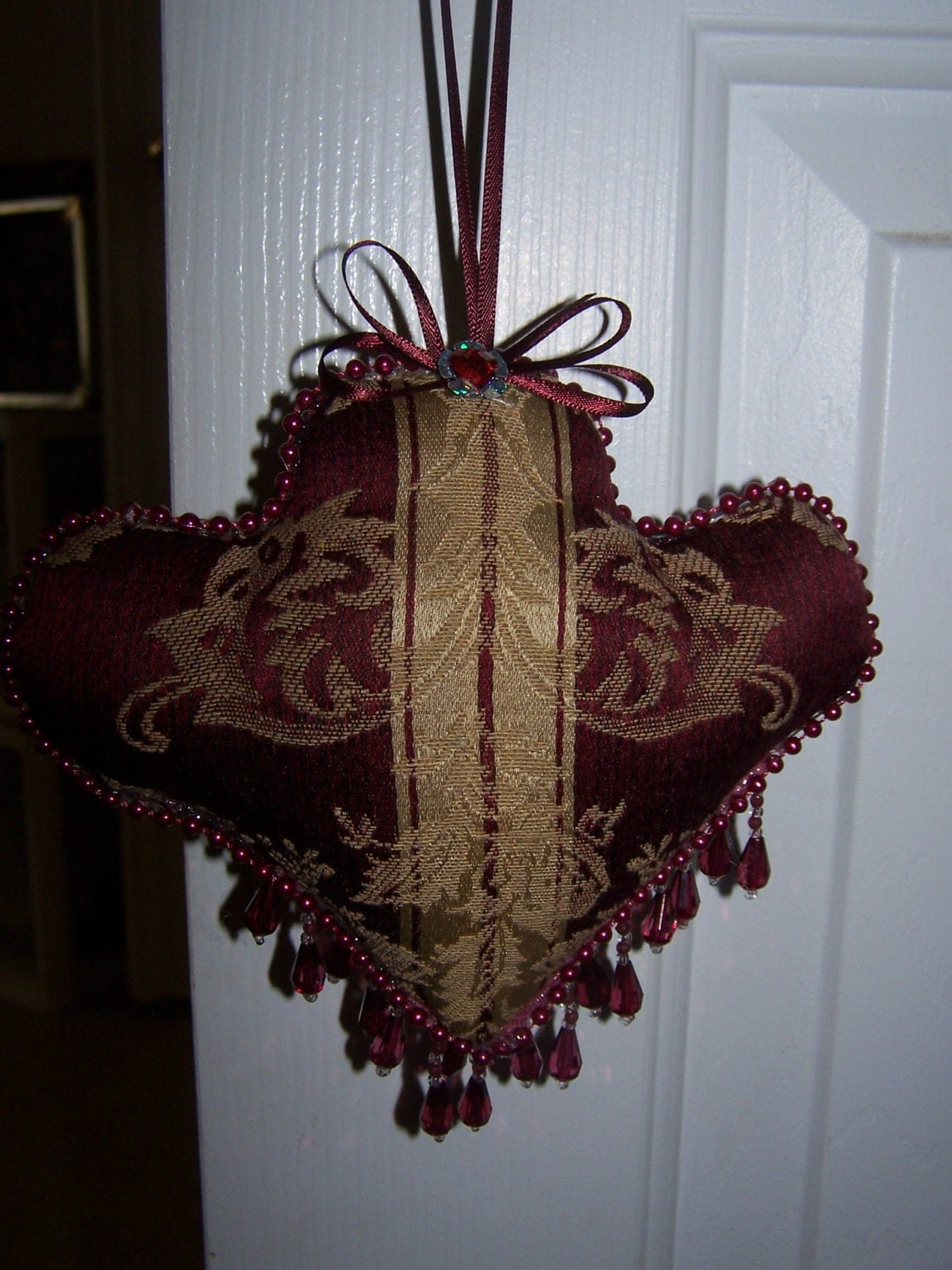 Victorian Style Pincushion Ornament Home Decor Fabric Craft Plastic Beads 7 5