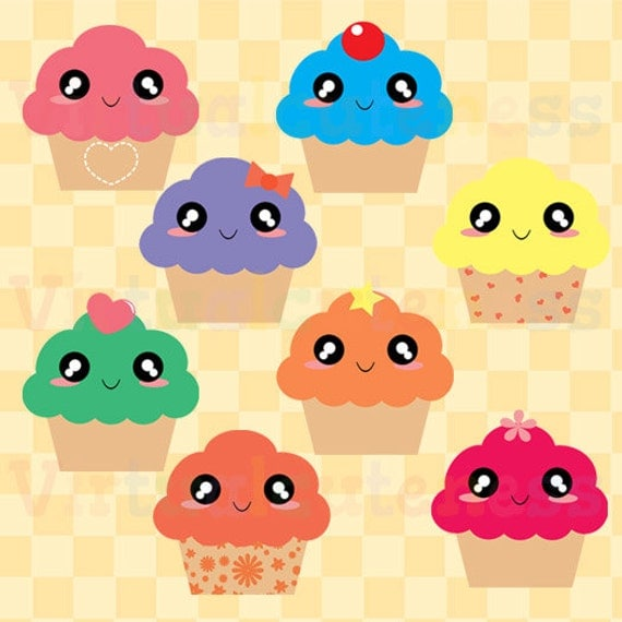 Kawaii Cupcake Clipart Sweets Clipart Food Clipart