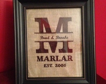 Embroidered initial on burlap.