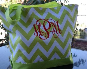 Lime Green CHEVRON Tote Bag Beach Bag With Monogram-Bridesmaid Gift, Teachers, Mom