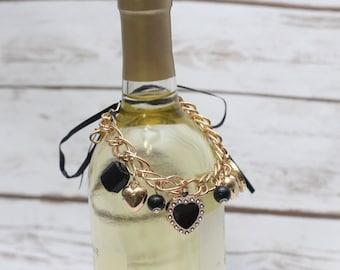 Items similar to sale wine bottle bracelet purple ribbon for Purple wine bottles for sale