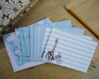 Hand Drawn Notecard Set -Set of 8 Blank Notecards- Travel Themed Illustrated Stationary - Blank A2 Notecard Set  - Travel Greeting Cards