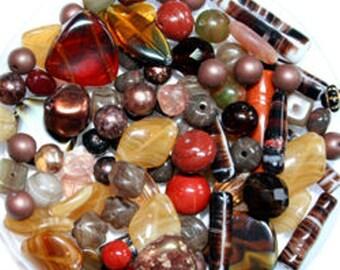 Bulk 100g Autumn Browns Czech Glass Bead Mix