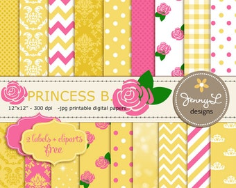 Princess Belle Printable Digital Papers , Rose Flower Clipart