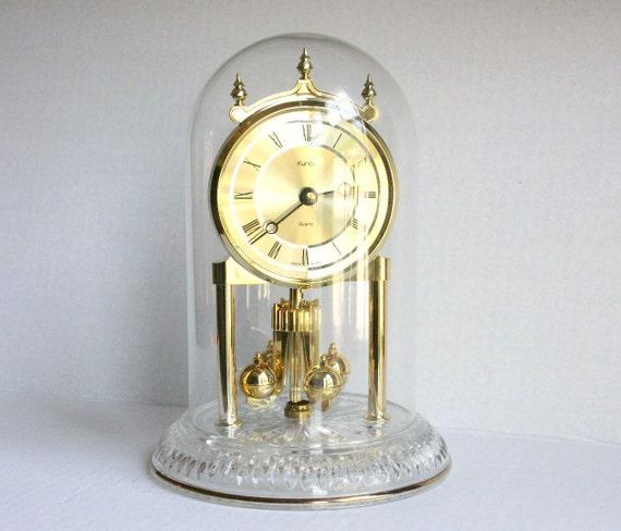 Gold Kundo Anniversary Clock Gold W Glass Dome Vintage