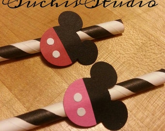12 Mickey Minnie Mouse straws. Mickey Mouse Party Straws/ Mickey mouse birthday party favors/ Twins Birthday party/ Mickey mouse party