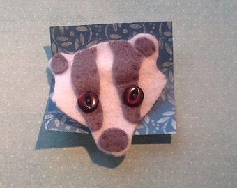 Badger felt brooch