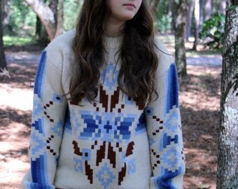 90s Vintage Chunky Southwestern Print Sweater