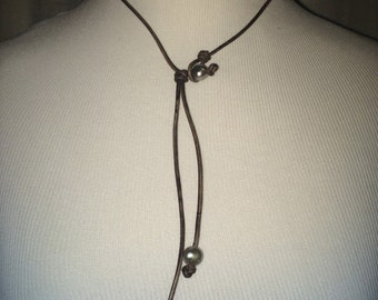 Brown/Grey leather necklace with wrap around pearl closure and 2 grey pearl drop