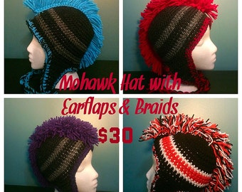 Crochet Mohawk Hat with Earflaps & Braids