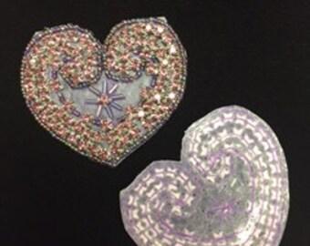 Set of 2 Light Amethyst Crystal Heart Appliques
