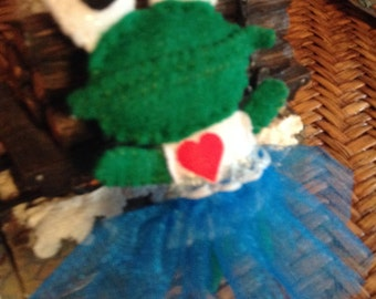 Cute felt frog doll or pocket friend or felt ornament