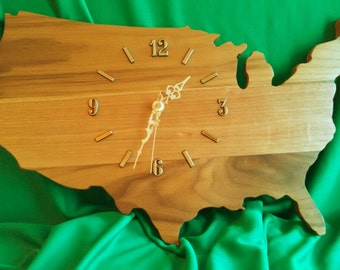 USA Clock made out of  Walnut Wood