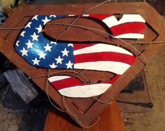 3' x 3'  3D patriotic Superman Shield