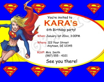 Supergirl Birthday Invitation - Printable