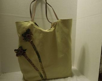 Natural green cotton duck and batik tote