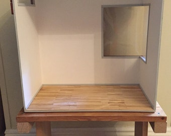 1:6 scale empty roombox w/ large wide corner window and a modern top sunlight window and wood flooring