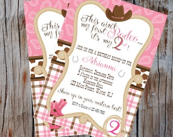 Free Thank You Card Included *Cowgirl, Western, Rodeo Theme, First Second Rodeo Invitation Digital Print