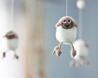 Needle Felted Sheep Baby Mobile, Nursery Decor, Baby Shower Gift