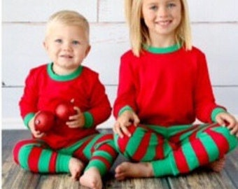 Christmas Pajamas! Red & Green Stripe.