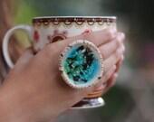 Ceramic jewelry OOAK turquoise and brown ceramic ring Statement ring Bohochic jewelry