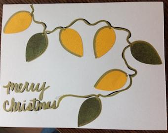 Handmade Holiday card with decorative bulbs (holidays, Christmas, etc)