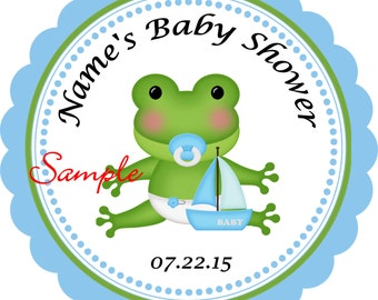 Baby boy Frog Personalized Stickers - Favor Labels, Party Favor Stickers, Birthday Stickers, Baby Shower
