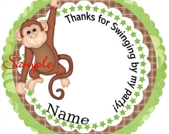 Brown and Green Swinging Monkey Personalized Stickers - Favor Labels, Party Favor Stickers, Birthday Stickers, Baby Shower