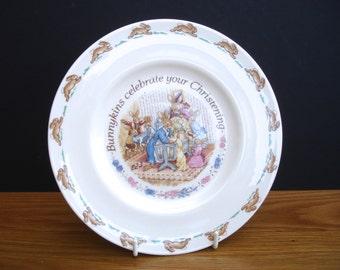 1990s Vintage Royal Doulton Bunnykins Christening Plate English Fine Bone China Bunnykins Celebrate your Christening