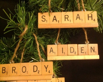 Personalized Scrabble Ornaments- your choice up to 9 letters- mounted on a scrabble tile rack