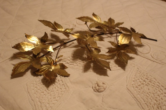 Vintage Brass Metal Branch Of Leaves Wall Hanging Wall Art