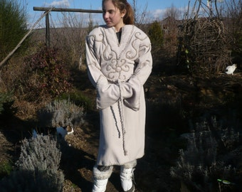 Fairy overcoat, medieval dress of dirty white cashmere with decorative seams and embroidered symbols,M/L size
