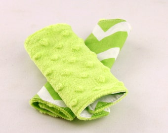 Carseat Strap Covers in Lime Chevron and Lime Minky