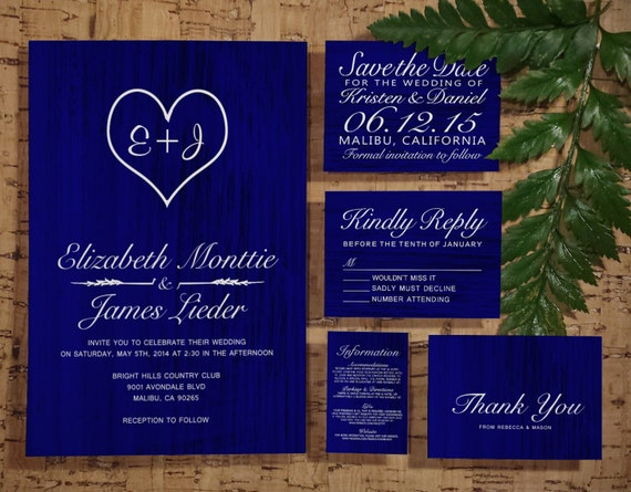 Royal Blue Wedding Invitation Cards: Royal Blue Country Wedding Invitation Set/Suite By